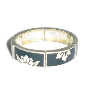 Vintage Floral Metal Stretch Bracelet Flower